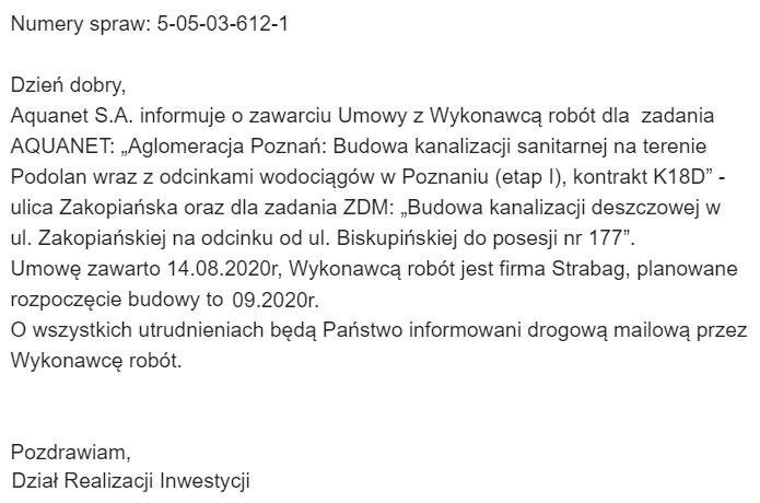 Zakopiańska - roboty Aquanet S.A.