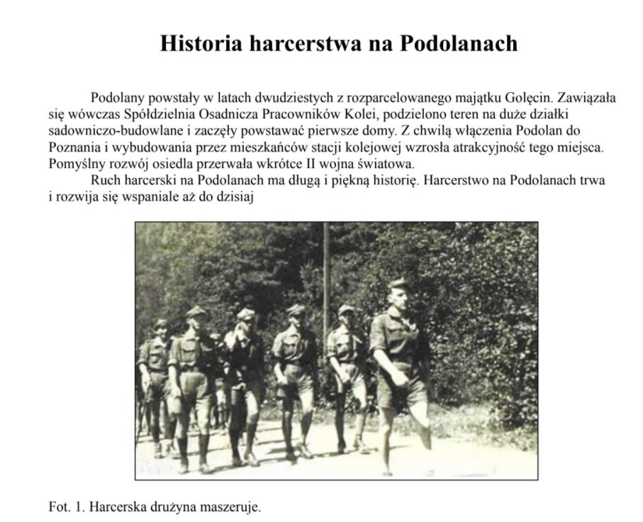 historia harcerstwa na Podolanach